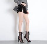 Fishnet Mesh Peep Toe Zipper Thin Heels Ankle Lace Up Boots