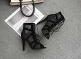 Cross-Tied Peep Toe  Ankle Strap Net Surface Hollow Out Lace Up Boots