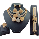 Big African Gold Exotic Balls Pendant Three Tone Layered Jewelry Set
