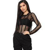 Fishnet Mesh long Sleeve Slim Fit O-Neck Bodysuit