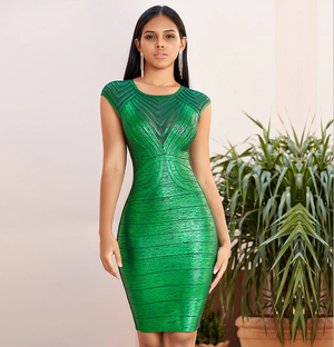 Ethnic Pattern O-Neck Hollow Out High Waist Bodycon Dress