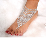 Triangular Design Rhinestone Crystals in Prong Setting Ankle Bracelet
