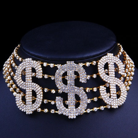 Big Dollar Sign Rhinestone Crystal Choker Necklace