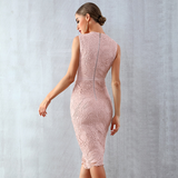 Lace Mesh Sleeveless Empire Waist Bodycon Dress