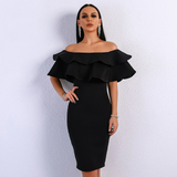 Solid Slash Neck Fold Over Ruffles Bodycon Dress