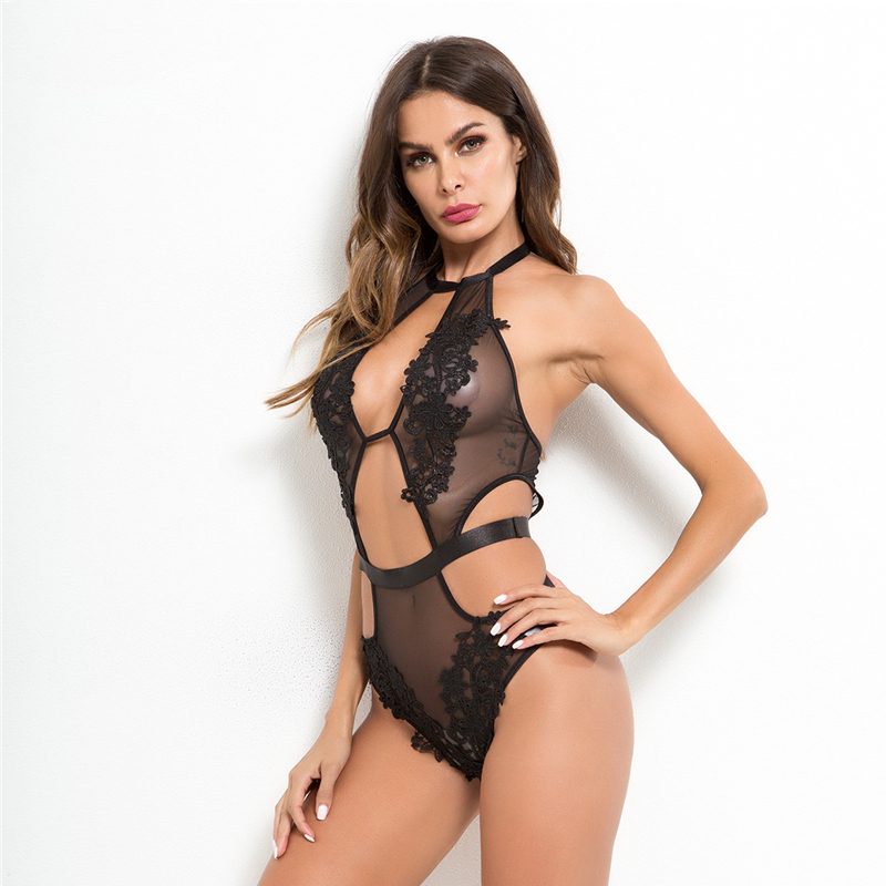Floral Lace Hollow Out Mesh Halter Neck Bodysuit