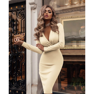 Wrap V-Neck Long Sleeve Midi Bodycon Dress