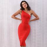 One Shoulder Backless Zipper Closure Bodycon Dress
