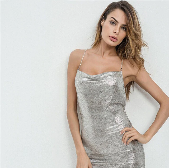 Metal Silver Chain Cross Back Straps Backless Bodycon Dress