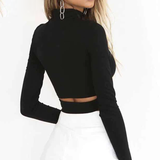 Turtleneck Cut Out Long Sleeve Crop Top