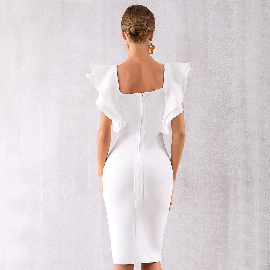 Ruffles Butterfly Sleeve Square Collar Bodycon Dress