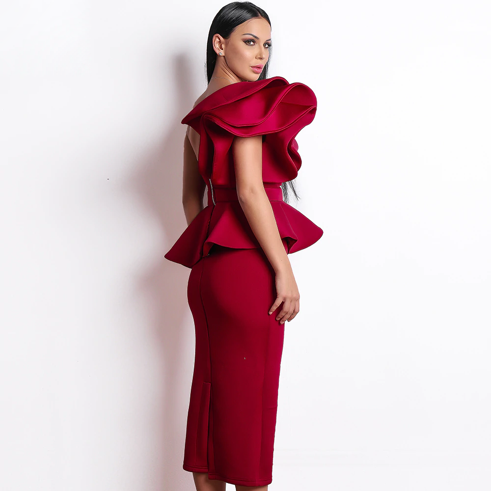 One Shoulder Ruffles Sleeve Backless Peplum Bodycon Dress