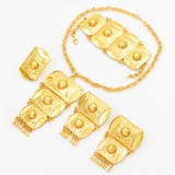 Big Luxury Gold Tassel Edge Necklace Earring Ring Jewelry Set