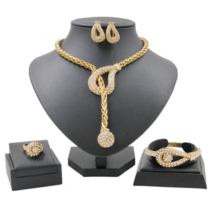 Crystal Rhinestone Necklace Ring Earring Jewelry Set