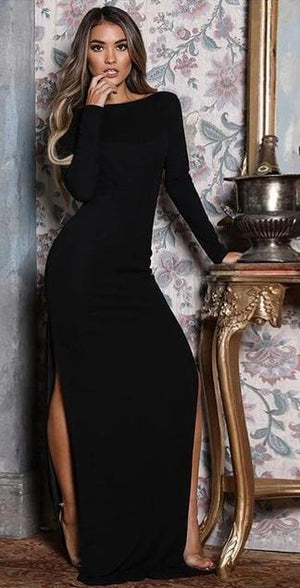 O Neck Full Sleeve Backless High Side Split Maxi Dress