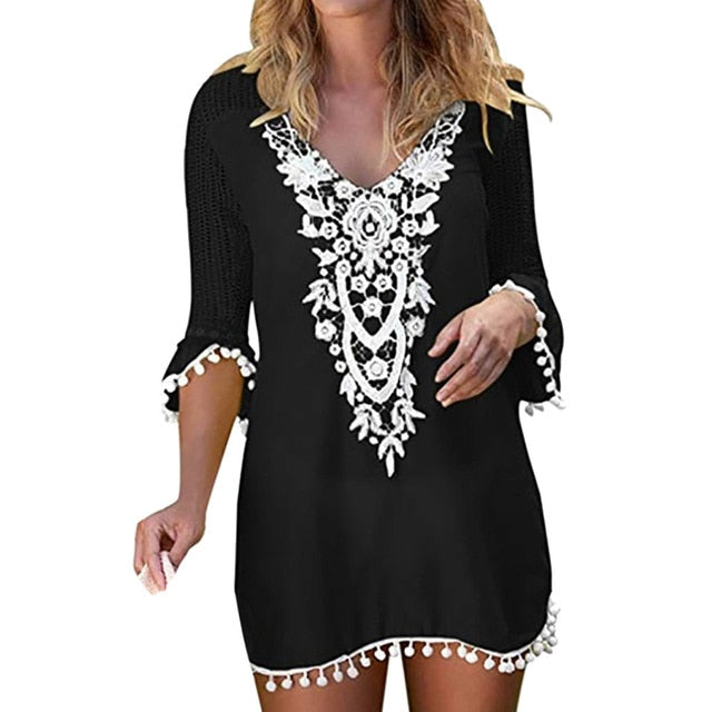 Pom Pom Trim Tassel Patchwork Lace Crochet Cover Up