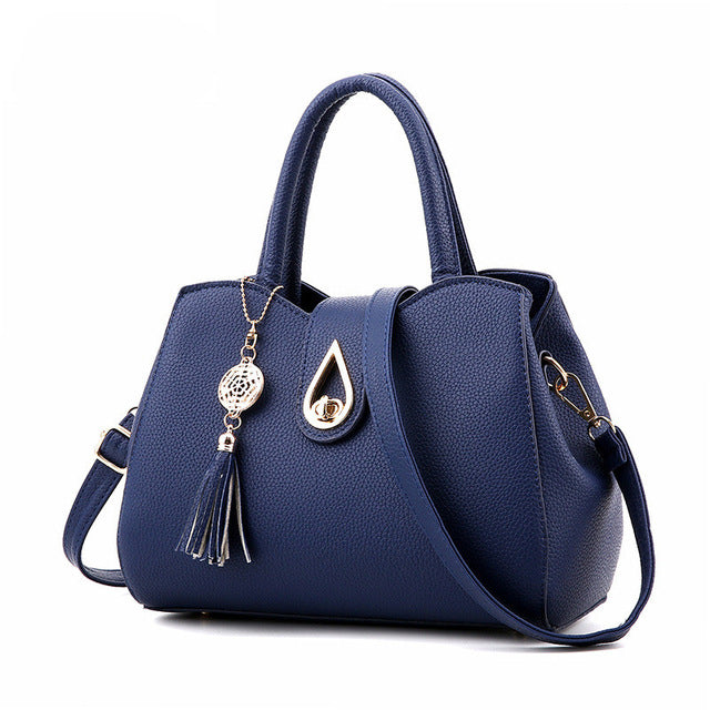 Tassel Beading Button Casual Tote Zipper Hasp PU Handbag