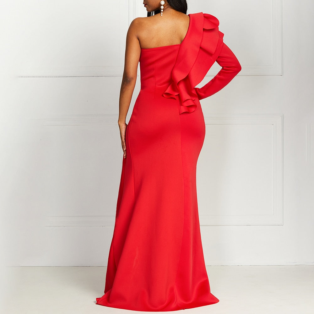One Shoulder Elegant Party Ruffles Maxi Dress