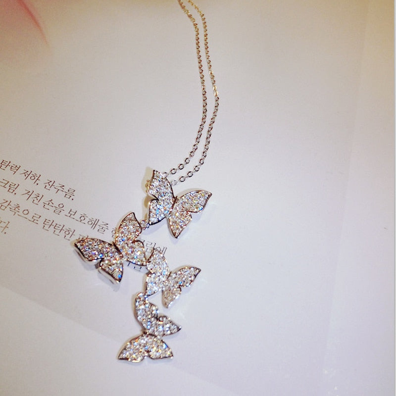 Butterfly Bling Zircon Stone Pendant Long Chain Necklace Jewelry Set