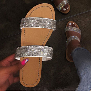 Bling Double Strap Open Toe Slippers