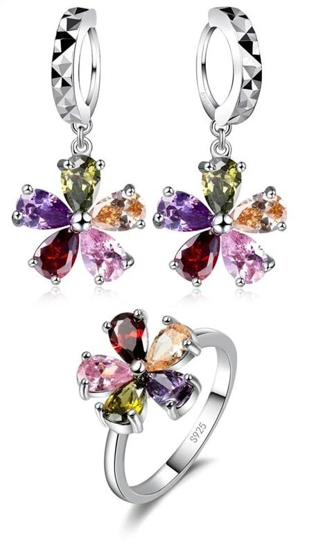 Colorful Flower Shape Pendant Necklace Drop Earring Jewelry Set