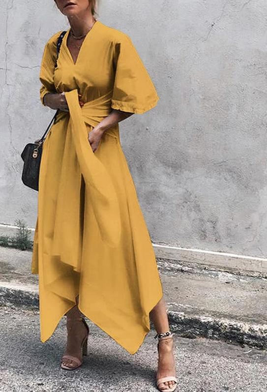 V Neck Short Flare Sleeve Asymmetrical High Waist Maxi Dress