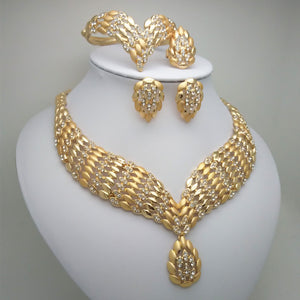 Gold Plated Bead Wide Round Necklace Jewelry Set