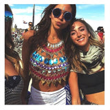 Metal Chain Sparkly Diamond Sequins Halter Beach Tank Top