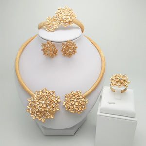 Indian Jasmine Flower Design African Gold Jewelry Set