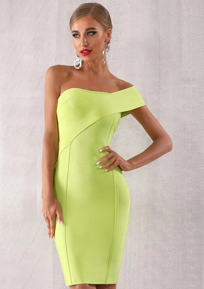 Natural Waist One Shoulder Sleeveless Celebrity Bodycon Dress