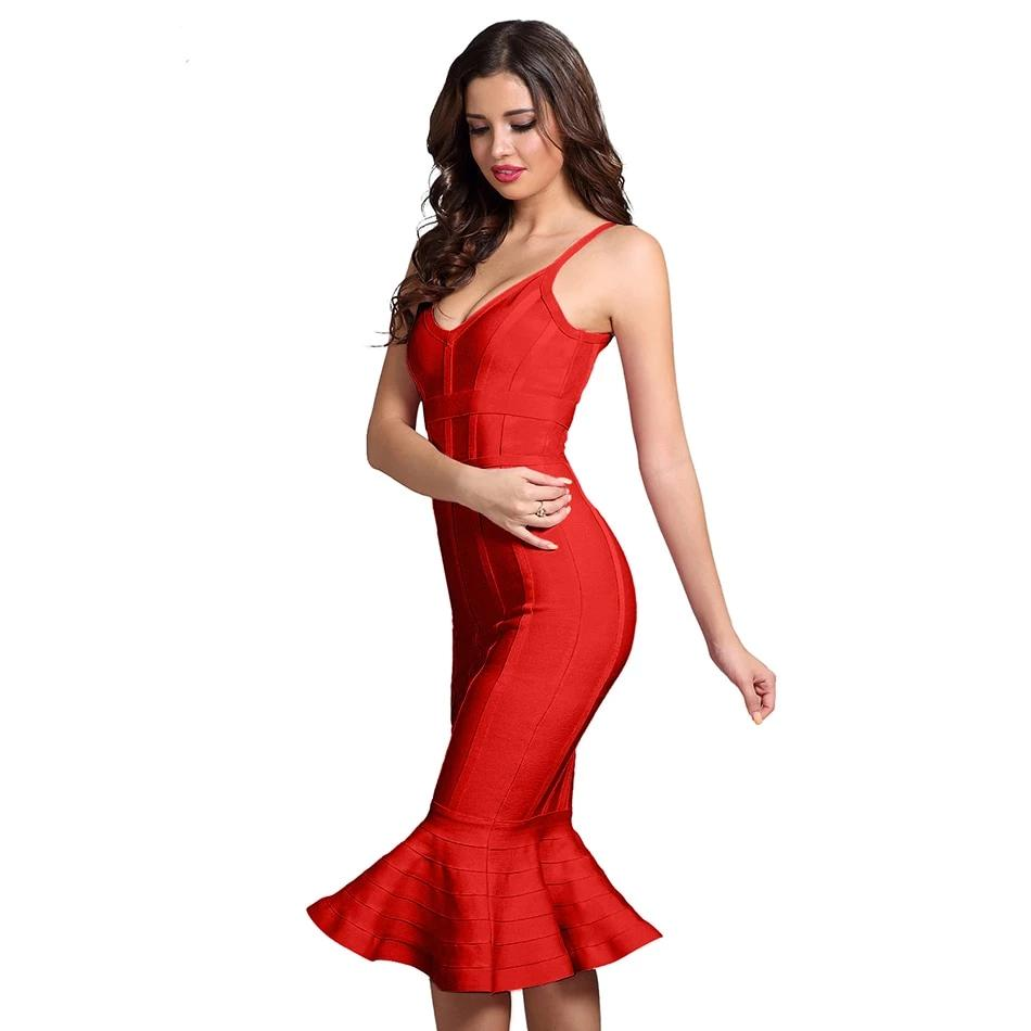 Spaghetti Strap Celebrity Evening Party Midi Dress