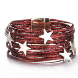 Bohemian Pentagram Metal Charm Leather Multilayer Bracelet