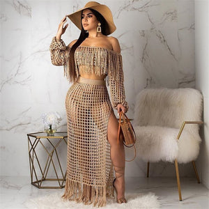 Fringed Tassel Off Shoulder Boho Knit Crochet Hollow Out Cover Up