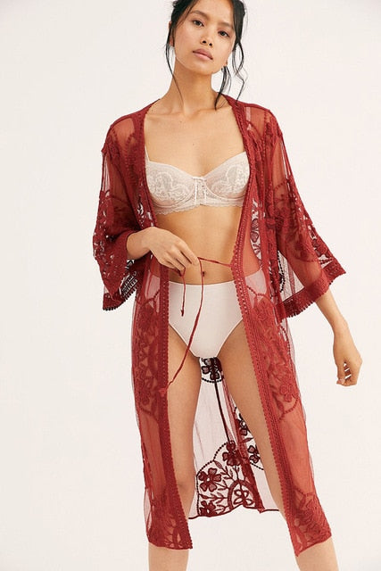 Flower Lace Flare Sleeve See Through Cover Up