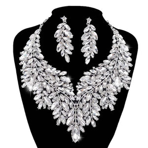 Rhinestone Crystal Necklace Drop Earring Jewelry Set