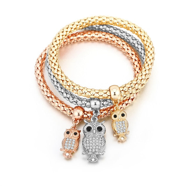 3-pc Set Tree of Life Owl Heart Anchor Musical Note in Popcorn Chain Charm Bracelet