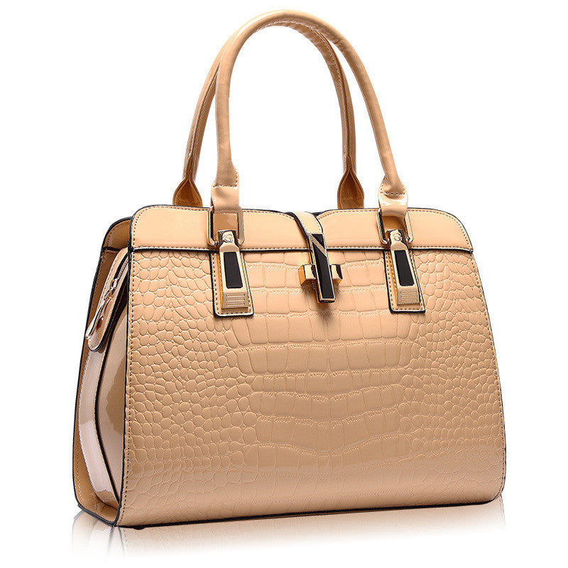 Animal PU Leather Button Lock Zipper Tote Handbag