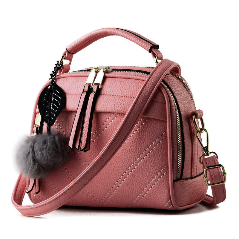 Criss Cross Tassel Flap Shape Zipper Genuine PU Handbag