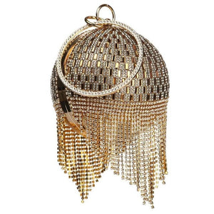 Diamonds Rhinestone Round Ball Tassels Mini Bag