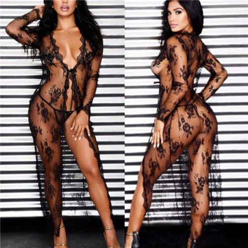 Solid Floral Lace Mesh Wrap Long Sleeved Bikini Cover Up