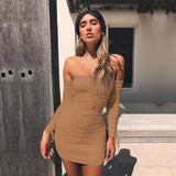 Off Shoulder Long Sleeve Ruched Elastic Bodycon Dress