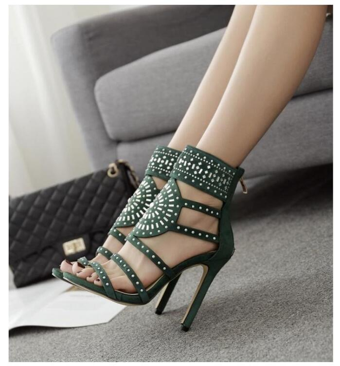 Crystal Ankle Wrap Diamond Gladiator High Heel
