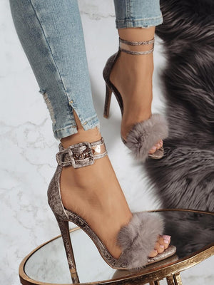 Footwear Fur Ankle Strap Gladiator High Heel