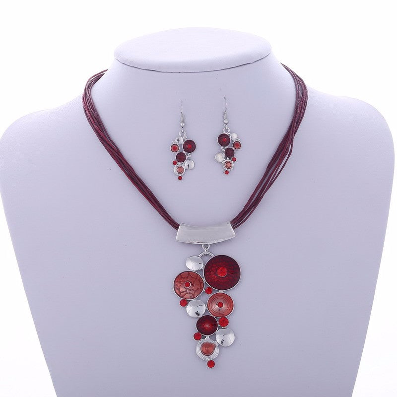 Colorful Drip Rhinestone Pendant Multilayer Rope Jewelry Set