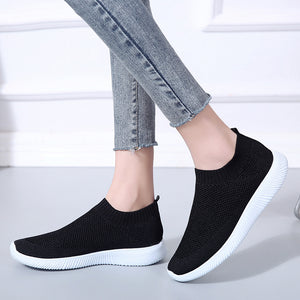 Slip On Knitting Soft Walking Platform Shoes