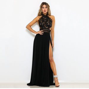 Double Slit Halter Neck Lace Crochet Sleeveless Backless Maxi Dress