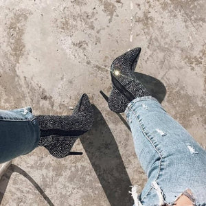 Rhinestone Zipper Pointed Toe High Heel Ankle Boots