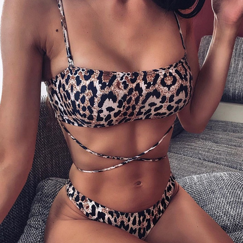 Snake Print String Thong Brazilian High Cut Bikini