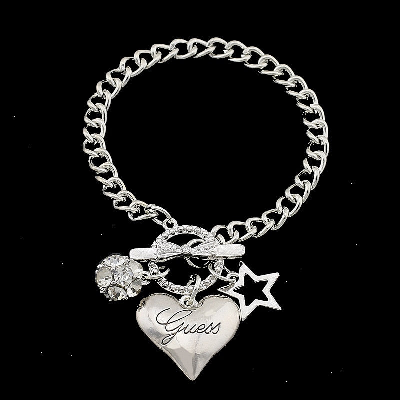 Heart Stainless Steel Fold Over Clasp Charm Bracelet