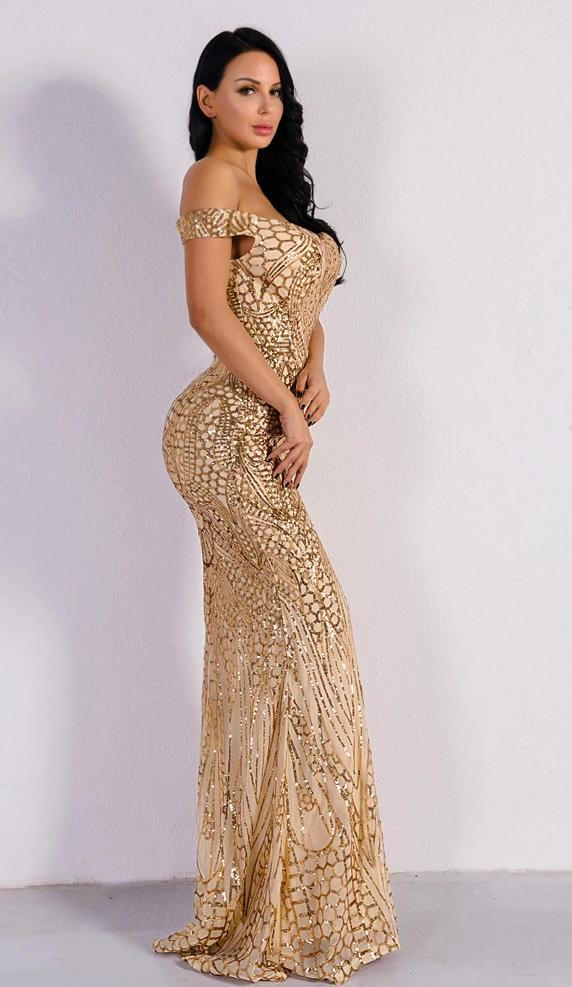 Sequined Off Shoulder Short Sleeve Elegant Maxi Dress